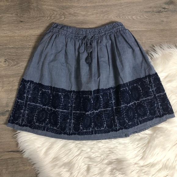 J. Crew Dresses & Skirts - J. Crew Zafrina Chambray Embroidered Skirt XS
